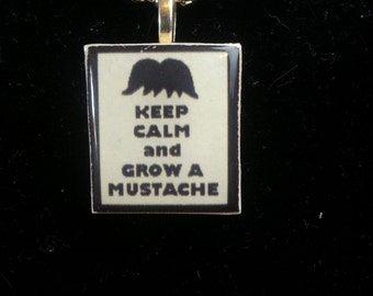 Keep Calm and Grow a Mustache - Scrabble Tile Charm Pendant - Ball Chain or Key Ring - Gift for Her - Gift for Him - Gift Under 5