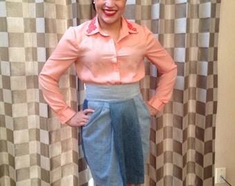 SALE Handmade Denim Skirt High Waisted by Liz Alig Sz L Full Zipper Front with a Denim Pannels and Pockets