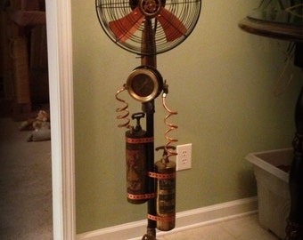 Handmade one of a kind steampunk industrial adjustable floor fan made from vintage & antique recycled parts