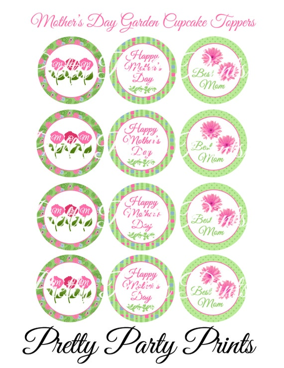 printable cupcake toppers mother 39 s day garden 2 inch round. Black Bedroom Furniture Sets. Home Design Ideas