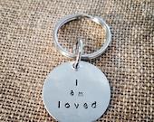 I am loved Hand Stamped Pet Tag, Pet ID Tag, Pet Talk Tag