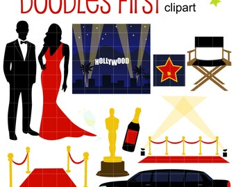 Hollywood Awards Night Gala Digital Clip Art for Scrapbooking Card Making Cupcake Toppers Paper Crafts