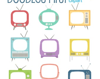 Retro Television Sets Frames Digital Clip Art for Scrapbooking Card Making Cupcake Toppers Paper Crafts