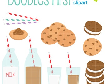 Milk And Cookies Digital Clip Art for Scrapbooking Card Making Cupcake Toppers Paper Crafts