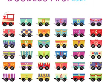 Train Alphabet And Numbers Set Digital Clip Art for Scrapbooking Card Making Cupcake Toppers Paper Crafts