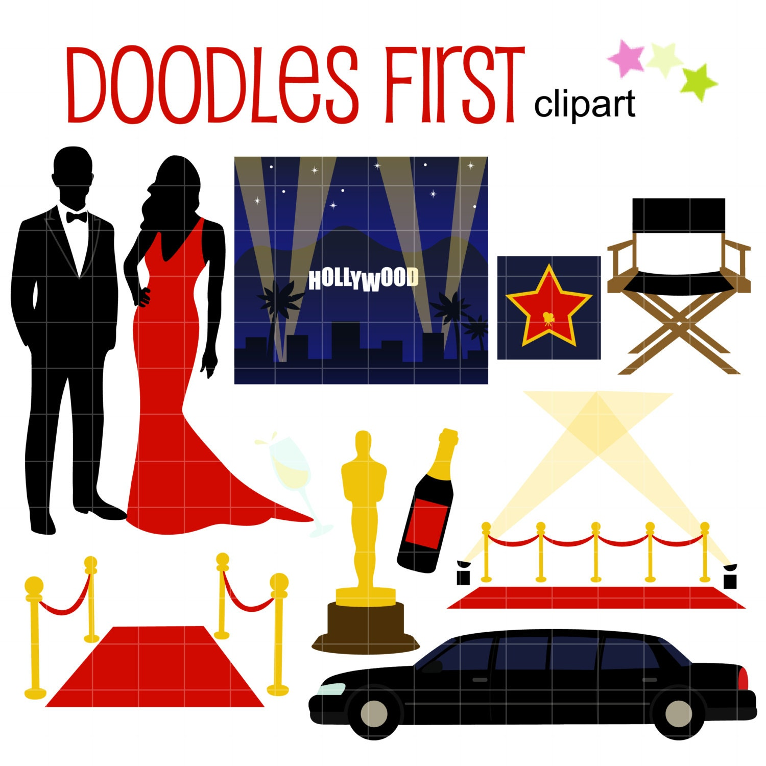 Hollywood awards night gala digital clip art for by doodlesfirst