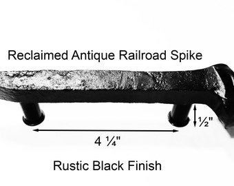 "4 1/4"" Right Black Railroad Spike Cupboard Handle Dresser Drawer Pull Cabinet Knob Antique Vintage Old Rustic Re-purposed House Restoration"