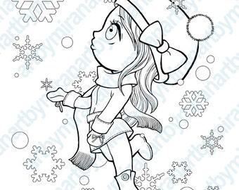 Christmas Digital Stamp, Winter Coloring page, snowflake ...