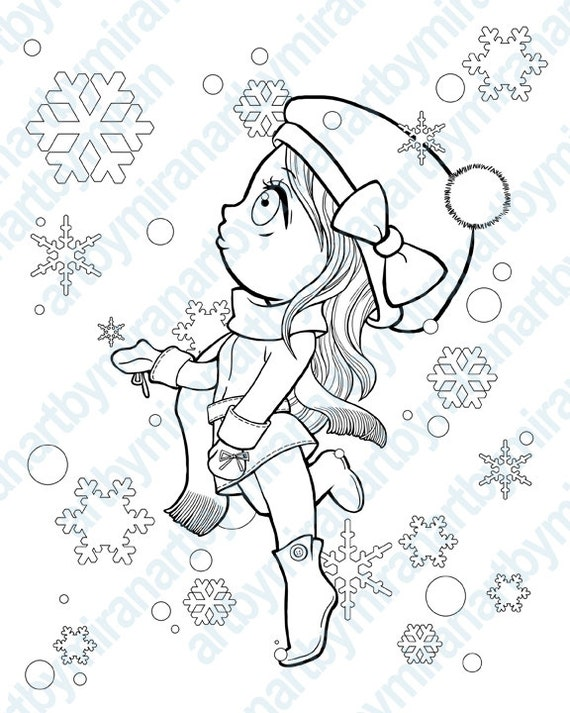Christmas Digital Stamp, Winter Coloring page, snowflake and girl illustration, Xmas digi stamp, kids coloring book, instant download, anime