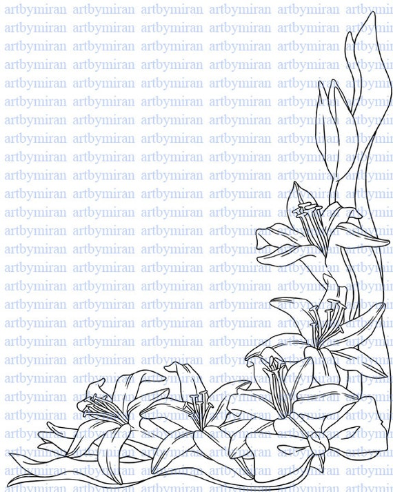 Digital Stamp-Lillian's Lily, Digi Stamp, Coloring page, Printable Line art for Card and Craft Supply, Art by Mi Ran Jung
