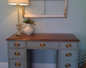 Vintage pale blue petite two toned writing desk with original hardware
