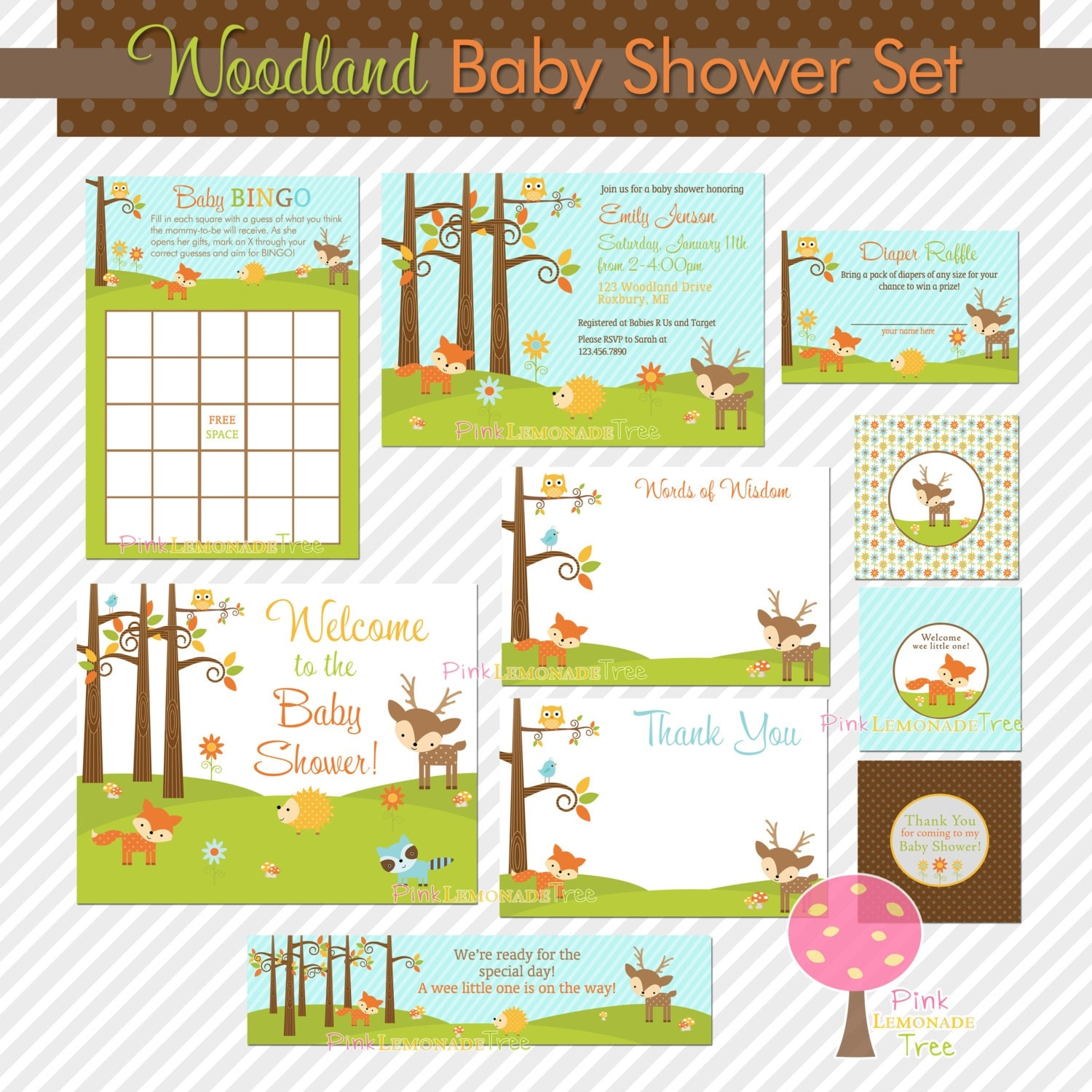 woodland baby shower set with invitation by pinklemonadetree