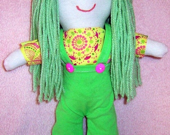 Hand Made Soft Cotton Doll, Molly, 12 inches tall, comes in hand made outfit.