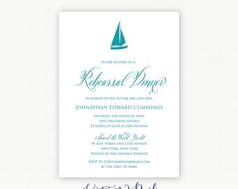 Sailboat Rehearsal Dinner Invitations Nautical Rehearsal