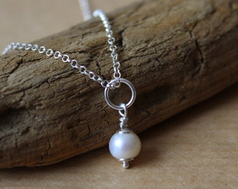 wedding pearl necklace / Valentines necklace / sterling silver  bridal necklace / gift for her / anniversary  necklace / gift for wife