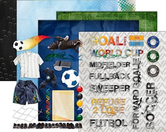 Soccer Digital Scrapbook - Sports Clipart - Football Futbol World Cup Team Printable Papers - Goal Kit - Instant Download