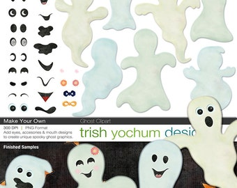 Halloween Ghost Clipart - Halloween Clip Art Digital PNGs - Ghost Graphics - Make Your Own Scrapbook ClipArt - Instant Download