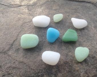 Lake Erie beach glass opaque white, green, and blue