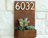 """12"""" x 20"""" Succulent Hanging Planter & Metal Address Plaque - Vertical Wall Planter with (4) Brushed Aluminum Address Numbers (Free Shipping)"""