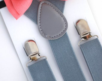 SUSPENDER & BOWTIE SET.  Light grey suspenders. Coral bow tie. Newborn - Adult sizes.