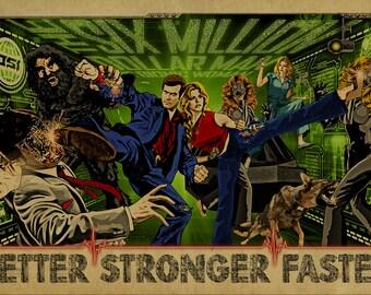 Six Million Dollar Man and Bionic Woman Poster with Max Battling Fembots, Bigfoot, Maskatron, Death Probe, Alex and Lisa Galloway.