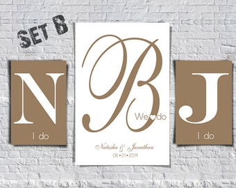 Monograms Wedding Guest Book Poster - Alternative guestbook - Wedding Poster - Wedding Guestbook - Set of 3 Prints - Weddings - Wedding gift