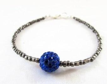 CLEARANCE Grey and blue stacking bracelet, gunmetal grey seed bead bracelet, shamballa bracelet, gift for teen, handmade in the UK