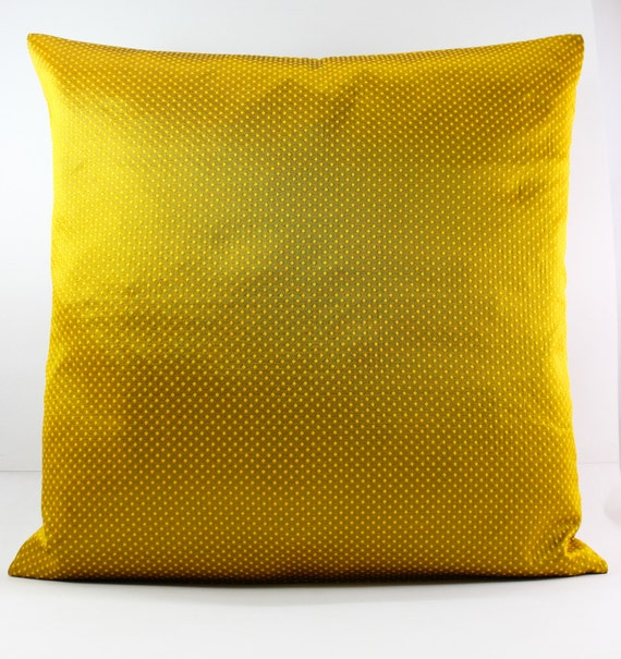Mustard Yellow Cotton Silk Pillow-Decorative throw by Fabricasia