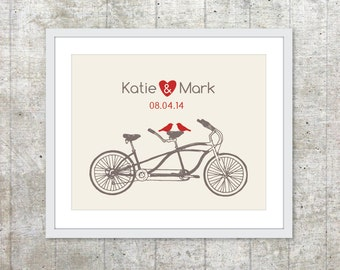 Wedding Personalized Couples Print - Love Poster- Tandem Bike and birds - Wall Art - Brown and Red