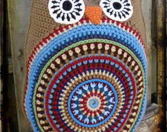 Primitive Americana Owl Pillow, Crochet Cushion, Americana Decor, OFG FAAP, Made to Order