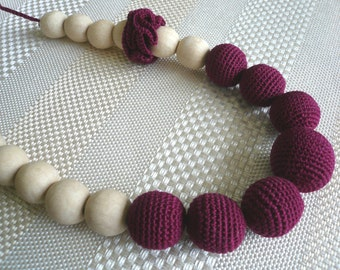 Teething Necklace for mom to wear/Breastfeeding Necklace /Wooden knitted with crochet  wine-colored necklace with flower/Cherry