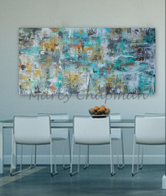 "Huge Modern Abstract  Huge 60"" x 30"" Original painting colors: gray, orange gold/yellow, white,red, turquoise/blue"