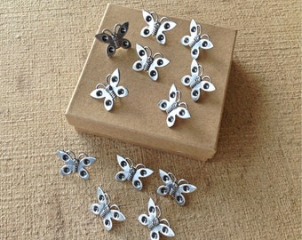 Decorative push pins - 12 pc - silver plated steel - butterfly shape - thumb tacks