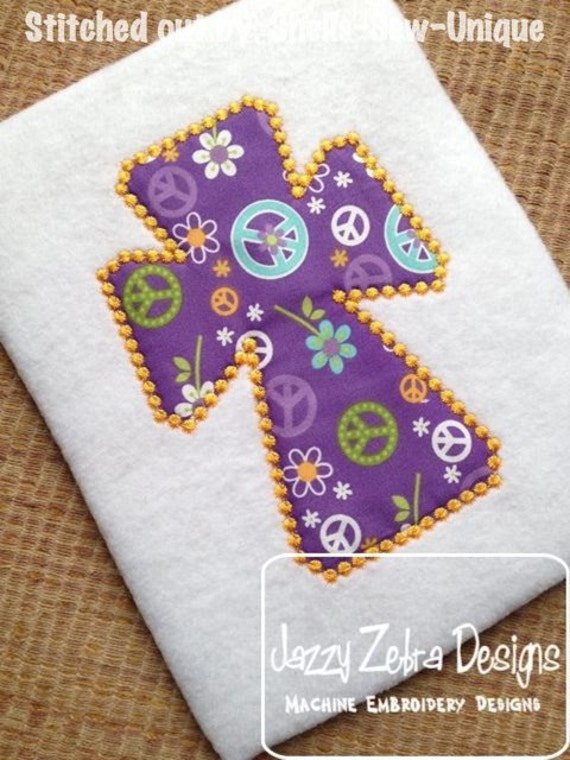 Cross with Candle Wicking Stitching Appliqué embroidery Design - Appliqué Design - christmas Appliqué Design - easter Appliqué Design