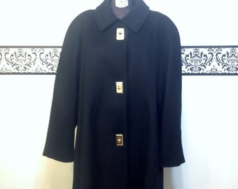 1980's Jet Black Lux Wool / Cashmere & Satin Peacoat by Leslie Faye, Vintage Pin Up / Mad Men, Plus Size, 2X, Trenchcoat / Women's Pea Coat