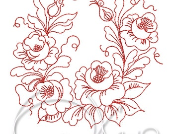 MACHINE EMBROIDERY FILE - Flower ornament, Floral design