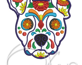 MACHINE EMBROIDERY DESIGN - Calavera dog, Calavera Terrier, Calavera puppy, Day of the dead