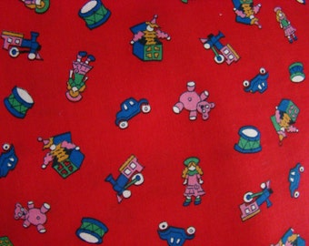 Vintage Red Holiday Toy land Fabric by the yard - 36 inches long  x 44.5 inches wide
