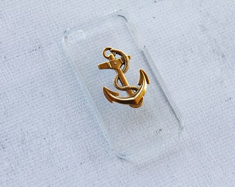 Nautical iPhone 4 4s Case Anchor iPhone 4 4s Cover Smartphone Clear Case iPhone 4 4s Hipster Retro Transparent Case Ocean Anchor Gold Sailor