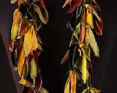 "Hand painted silk & velvet ""Leaf"" scarf"