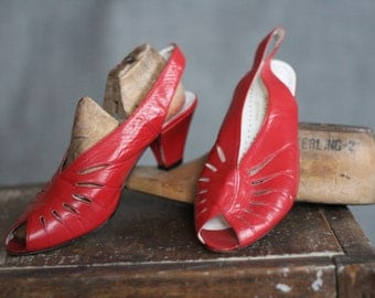 1980s Tomato Red Cut Out Peep Toe Sling Back Heels
