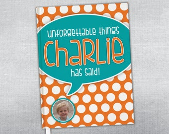 Personalized quote journal. Quotable kid journal. Hard cover journal. Bound journal.
