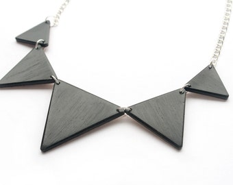 Ebony, Triangle Bib Necklace, Wood, Wooden, Black