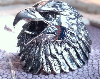 Vintage Eagle Biker Ring Size 14 Men's Silver G&S Lost Wax Method Sterling Plated Brass Philadelphia Screaming Bald Eagles NFL Fan Ring