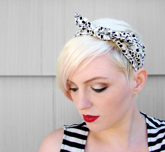 Skull Rockabilly Headband Halloween Retro Pin Up Hair Scarf Black and White Knotted Headband