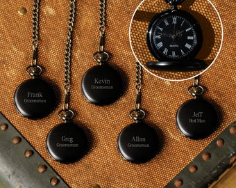 Groomsmen Personalized Pocket Watches - Set of 5 Personalized Pocket Watches for Groomsmen Gifts - Engraved Pocket Watch Set of 5 - RO938X5