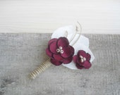 Mens Wedding Boutonnieres - Marsala Boutineers for Wedding - Rustic Hand Crafted