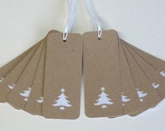Christmas Gift Tags 10/Pk  - Christmas Tree Gift Tags - Holiday Gift Tags - Gift Tags Recycled card