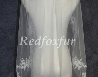 Bridal veil/1 Tier wedding veil/lace applique edge Veil/Wedding Accessories/With comb