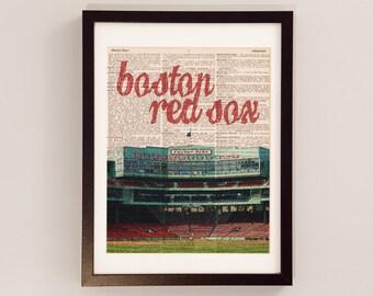 Boston Red Sox Dictionary Art Print - Fenway Park, Boston Mass - Print on Vintage Dictionary Paper - Baseball Art - World Series Champions